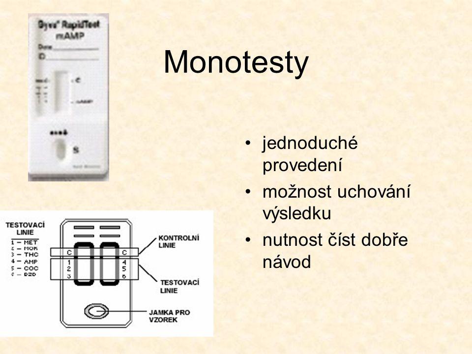 Monotesty jednoduché provedení možnost uchování výsledku