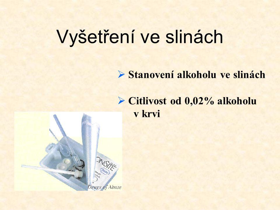 Vyšetření ve slinách Stanovení alkoholu ve slinách