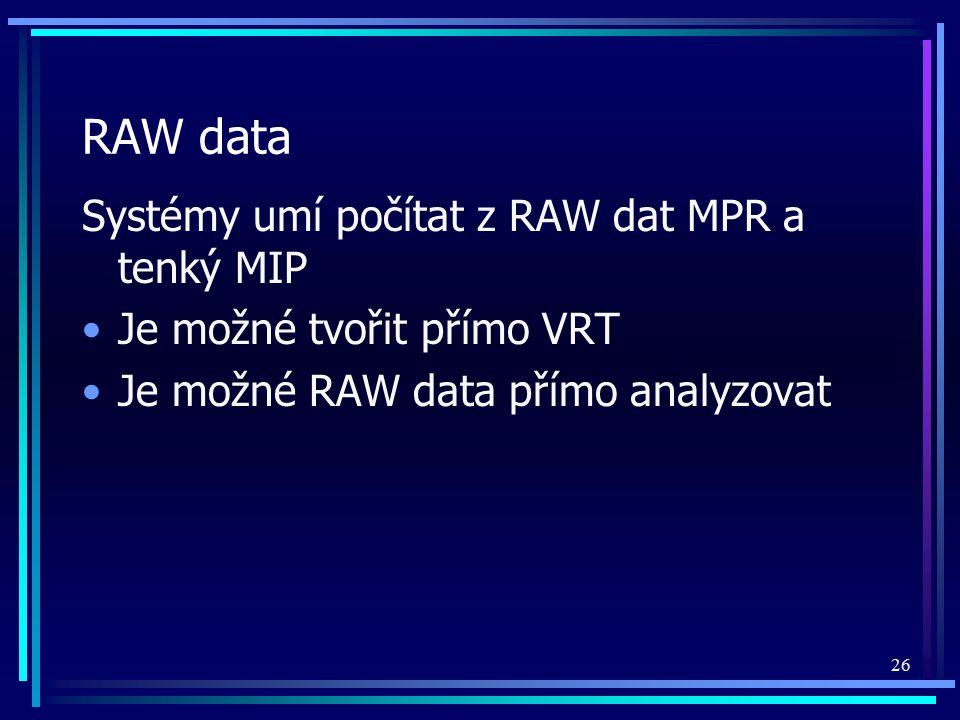 RAW data Systémy umí počítat z RAW dat MPR a tenký MIP