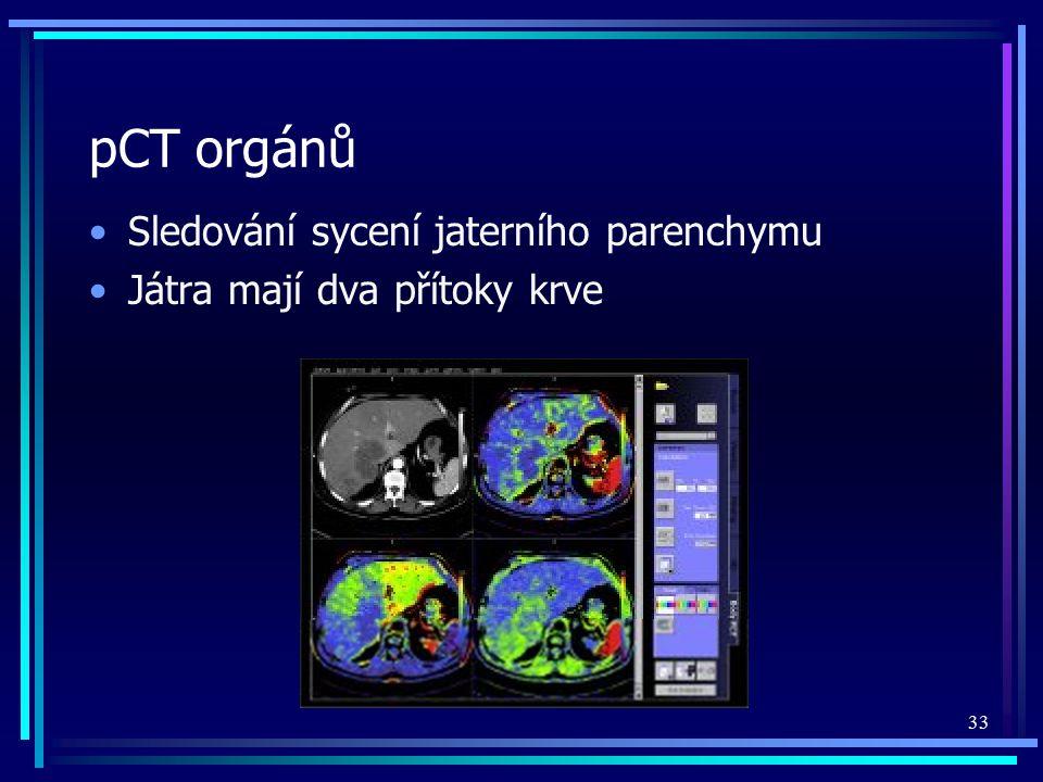 pCT orgánů Sledování sycení jaterního parenchymu