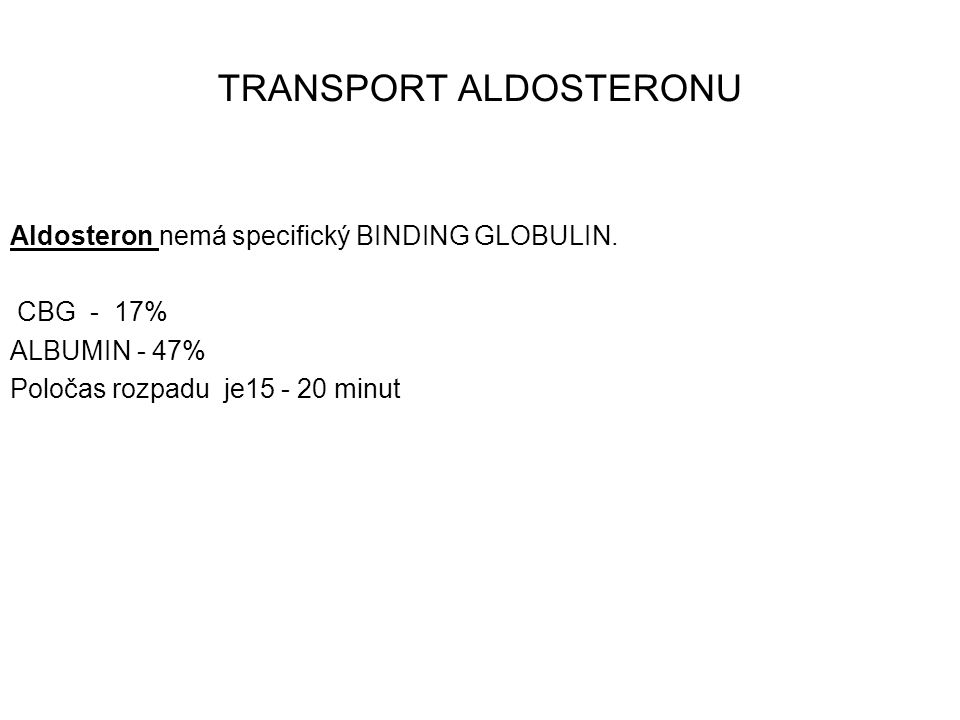 TRANSPORT ALDOSTERONU