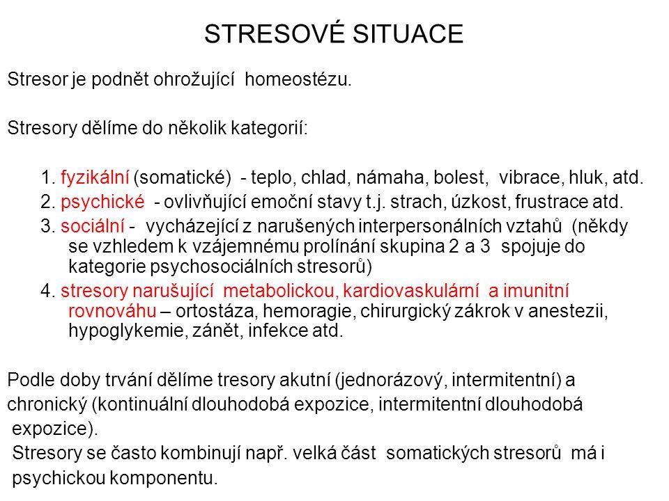 STRESOVÉ SITUACE Stresor je podnět ohrožující homeostézu.