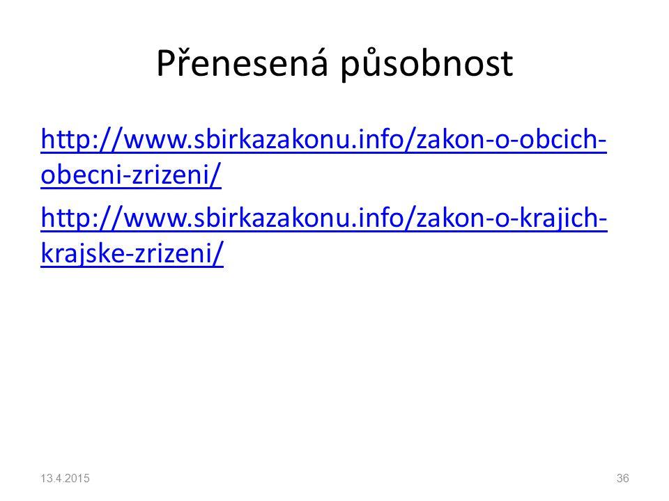 Přenesená působnost http://www.sbirkazakonu.info/zakon-o-obcich-obecni-zrizeni/ http://www.sbirkazakonu.info/zakon-o-krajich-krajske-zrizeni/