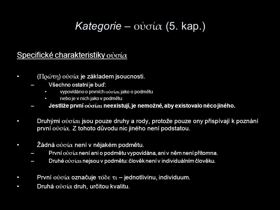 Kategorie – οὐσία (5. kap.)