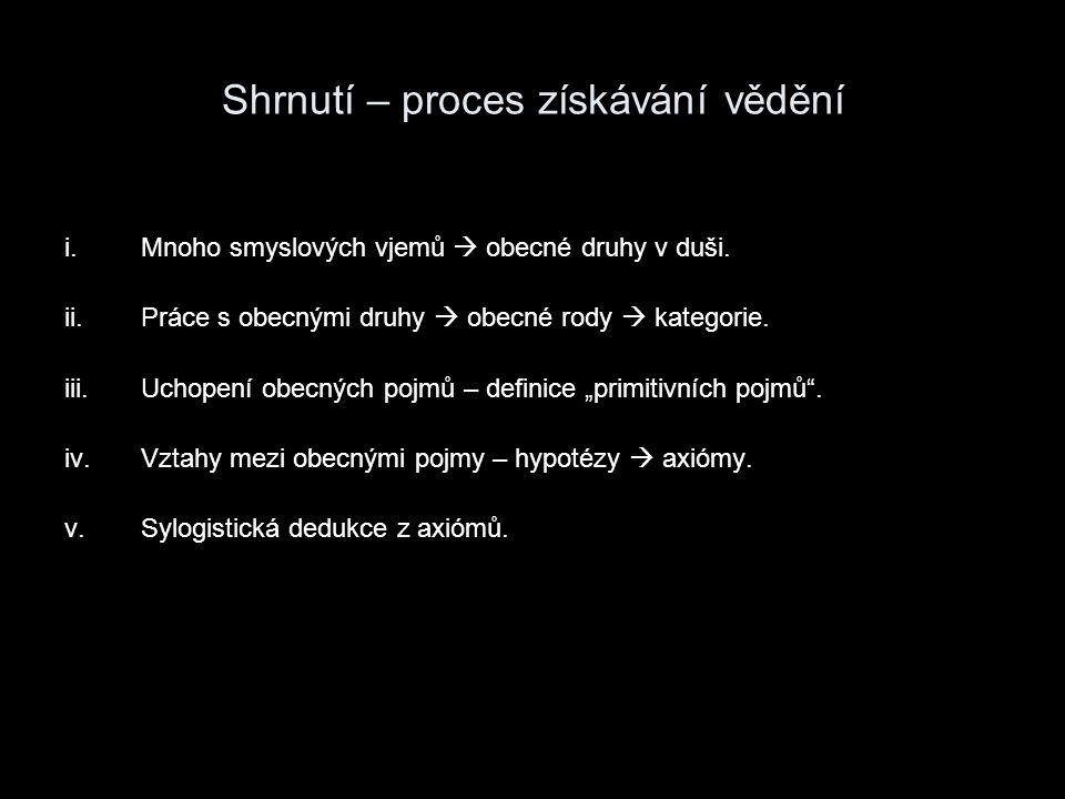Shrnutí – proces získávání vědění