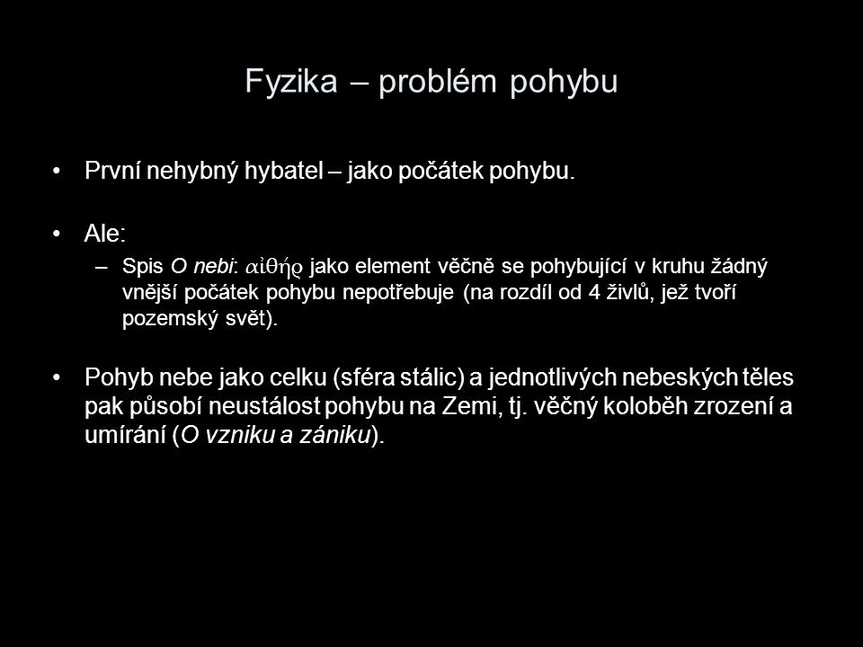 Fyzika – problém pohybu