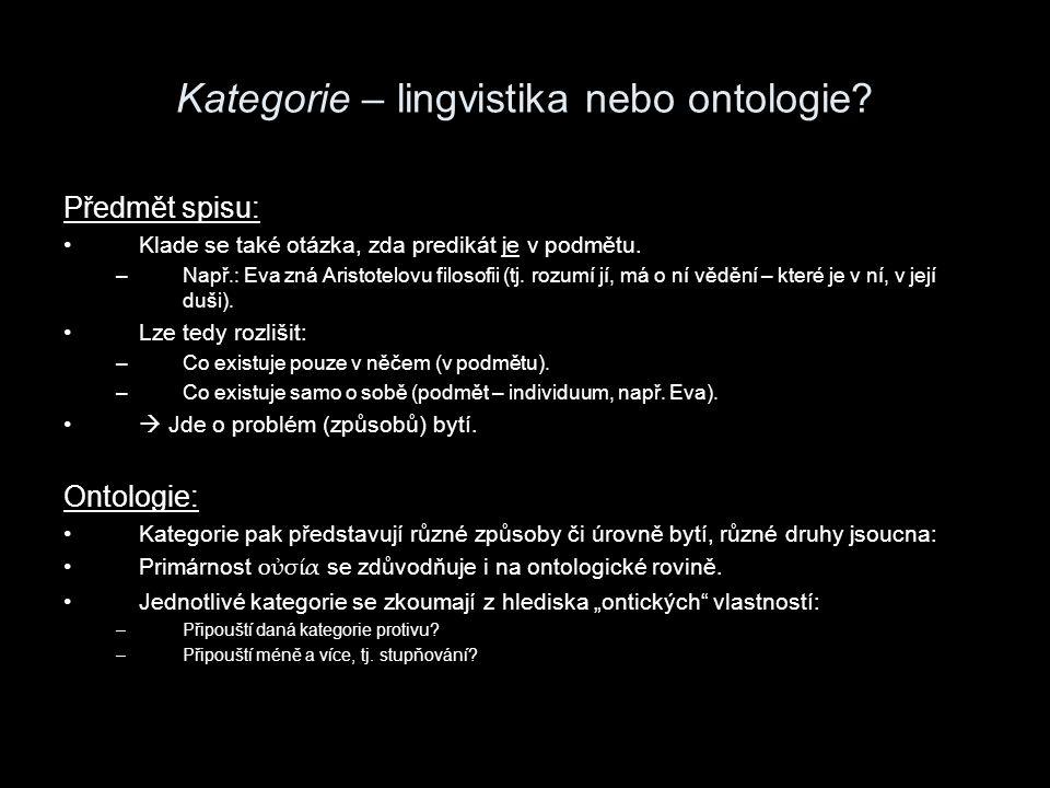 Kategorie – lingvistika nebo ontologie