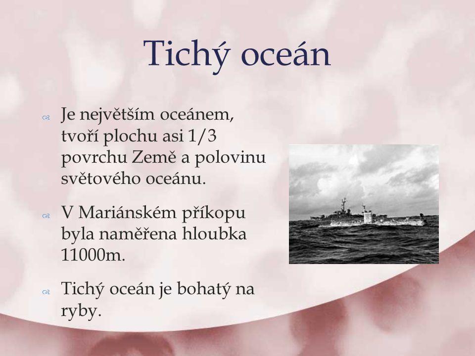 Tichý oceán Je největším oceánem, tvoří plochu asi 1/3 povrchu Země a polovinu světového oceánu.