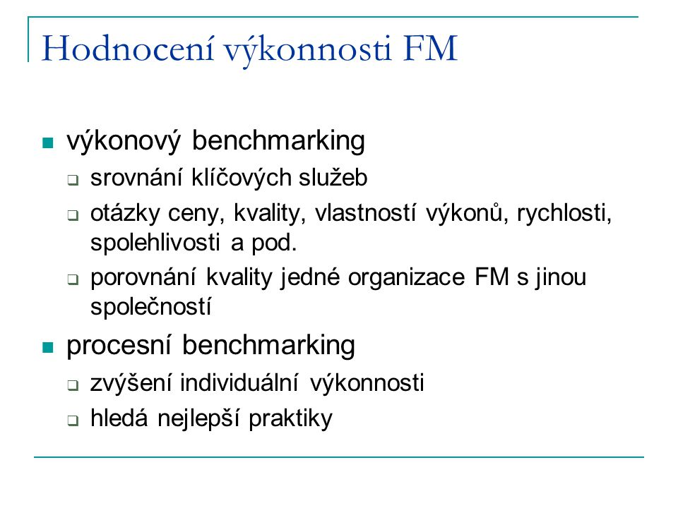Hodnocení výkonnosti FM