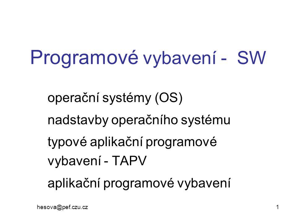 Programové vybavení - SW