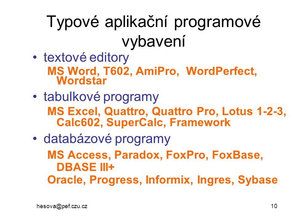 Typové aplikační programové vybavení