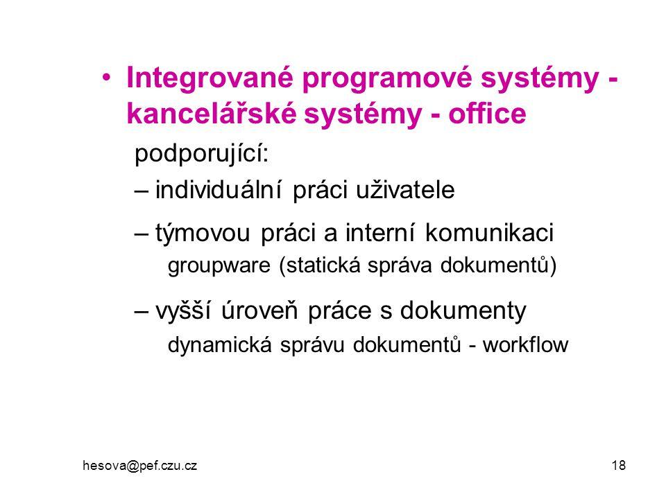 Integrované programové systémy - kancelářské systémy - office