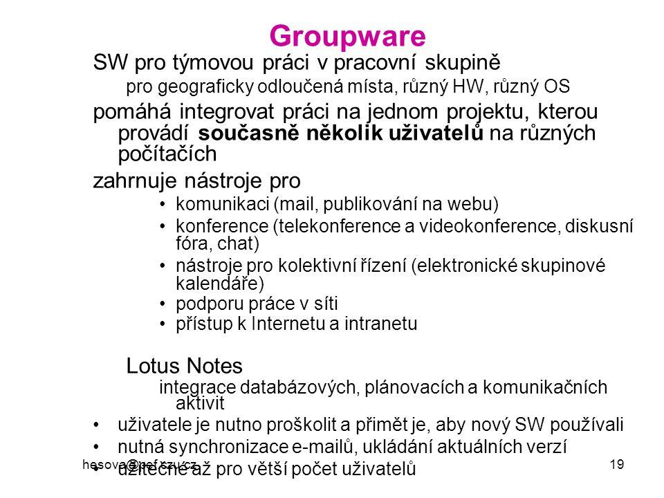 Groupware SW pro týmovou práci v pracovní skupině