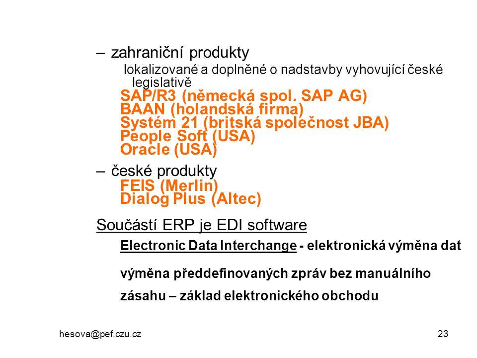 SAP/R3 (německá spol. SAP AG) BAAN (holandská firma)