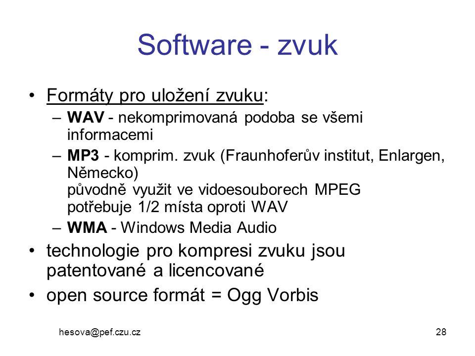 Software - zvuk Formáty pro uložení zvuku: