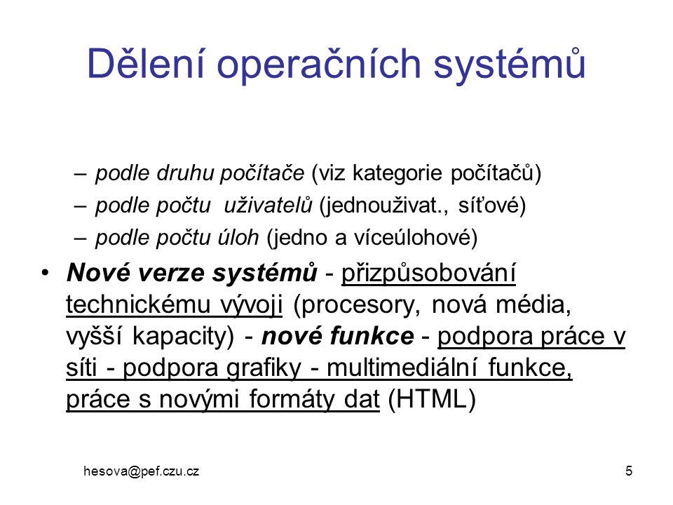 Dělení operačních systémů