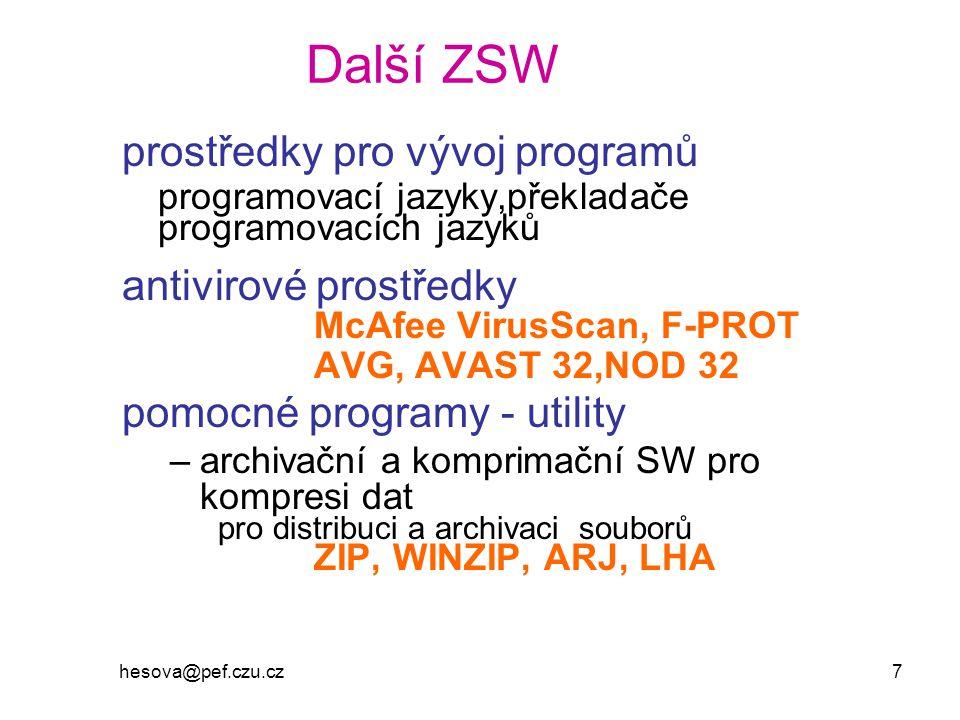 Další ZSW prostředky pro vývoj programů antivirové prostředky