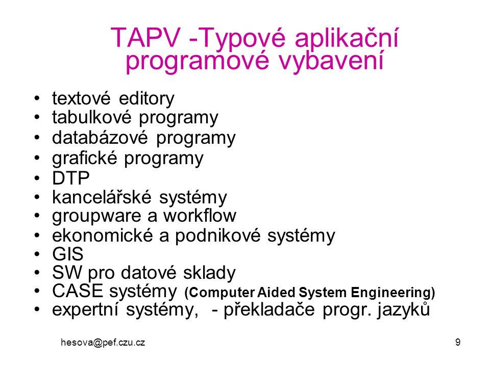 TAPV -Typové aplikační programové vybavení