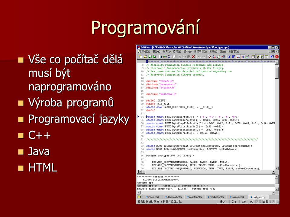 Programování Vše co počítač dělá musí být naprogramováno