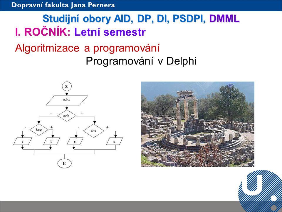 Studijní obory AID, DP, DI, PSDPI, DMML
