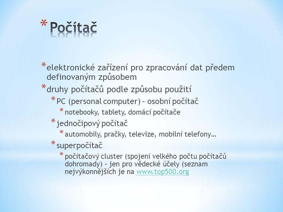 Počítač elektronické zařízení pro zpracování dat předem definovaným způsobem. druhy počítačů podle způsobu použití.