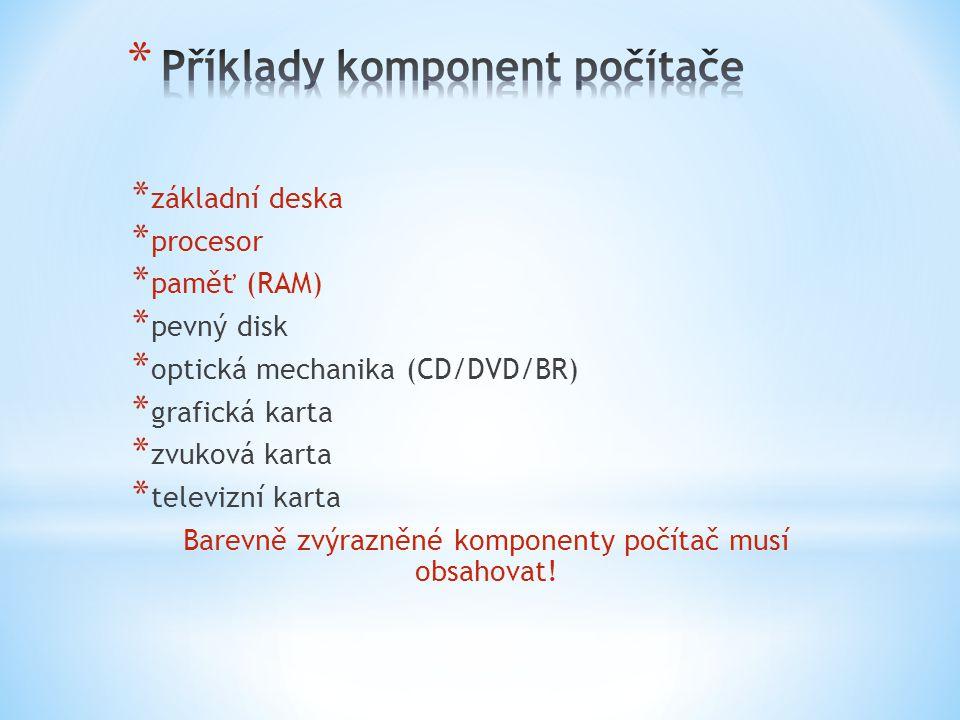Příklady komponent počítače