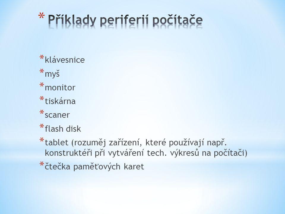 Příklady periferií počítače