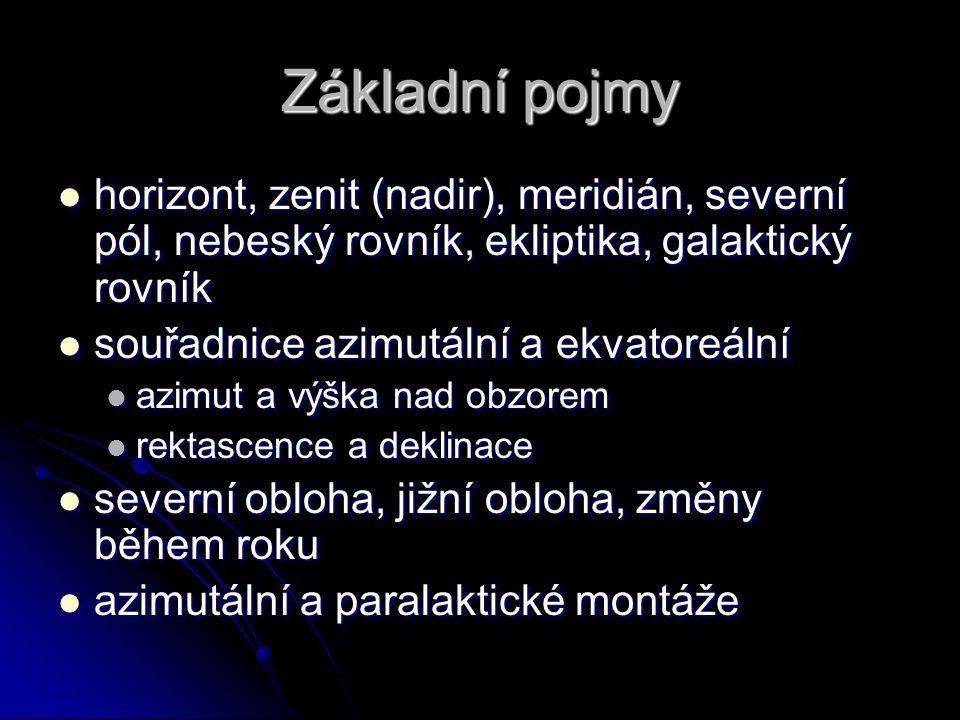 Základní pojmy horizont, zenit (nadir), meridián, severní pól, nebeský rovník, ekliptika, galaktický rovník.