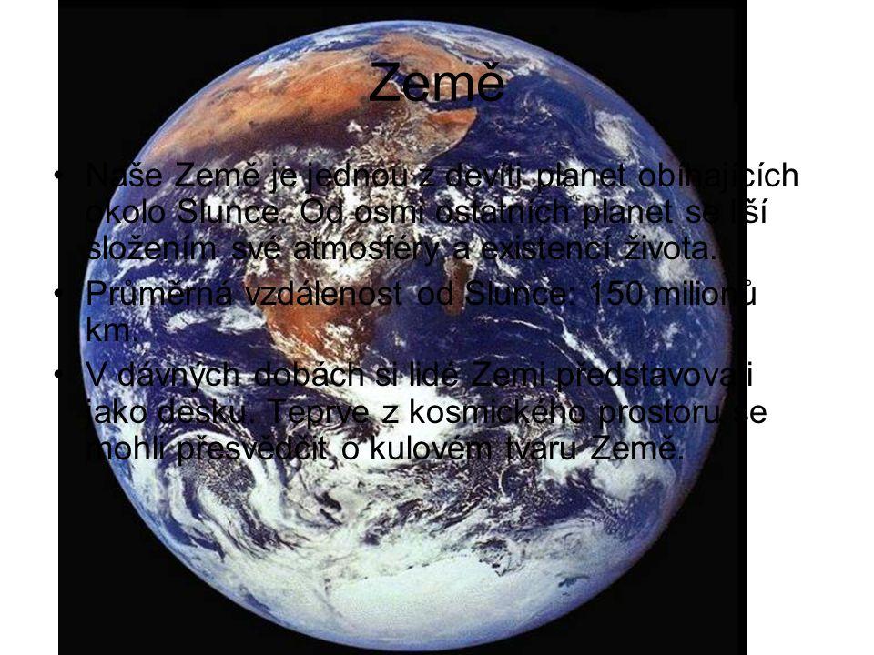 Země Naše Země je jednou z devíti planet obíhajících okolo Slunce. Od osmi ostatních planet se liší složením své atmosféry a existencí života.