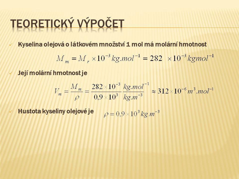 Teoretický výpočet Kyselina olejová o látkovém množství 1 mol má molární hmotnost. Její molární hmotnost je.