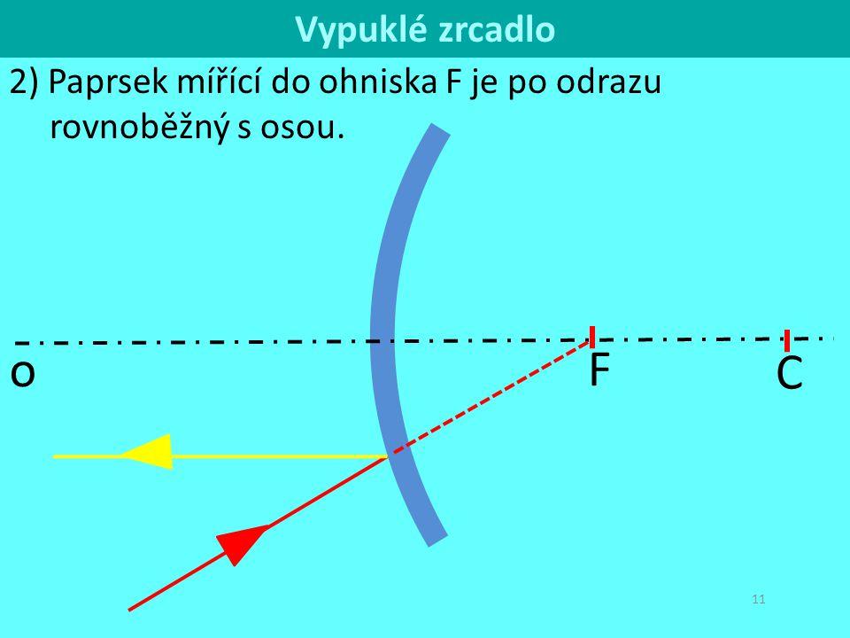 C o Vypuklé zrcadlo 2) Paprsek mířící do ohniska F je po odrazu rovnoběžný s osou. F
