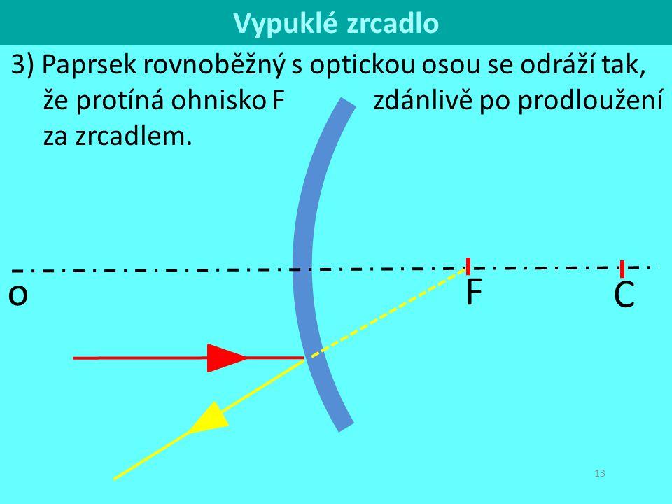 C o. Vypuklé zrcadlo. 3) Paprsek rovnoběžný s optickou osou se odráží tak, že protíná ohnisko F zdánlivě po prodloužení za zrcadlem.