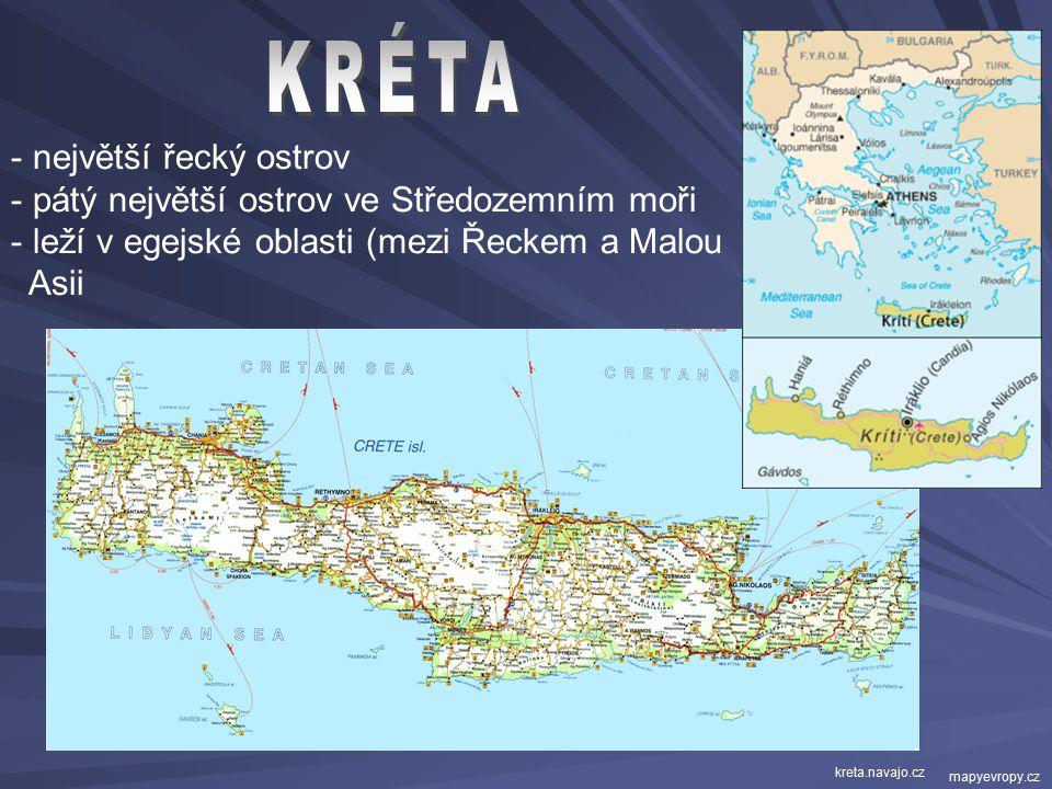 KRÉTA největší řecký ostrov pátý největší ostrov ve Středozemním moři