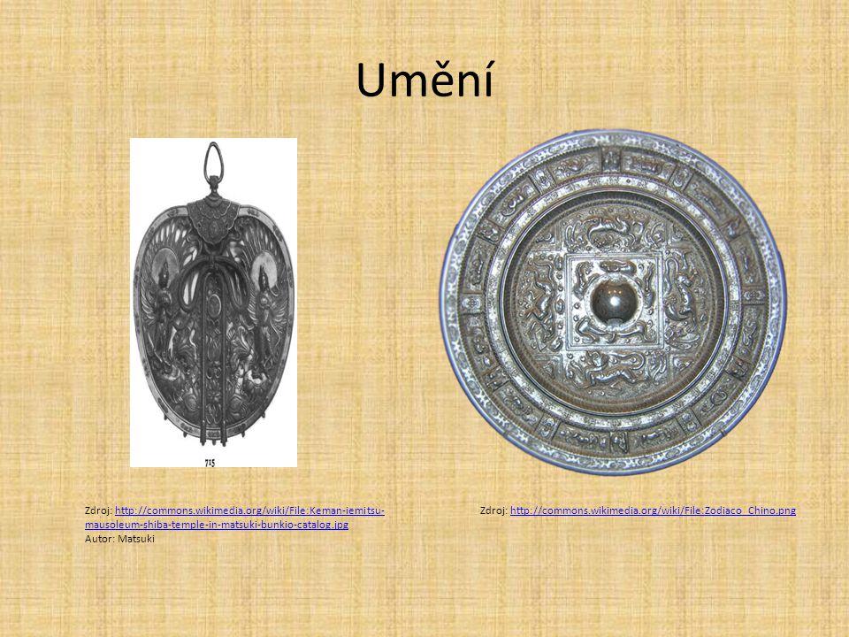Umění Zdroj: http://commons.wikimedia.org/wiki/File:Keman-iemitsu-mausoleum-shiba-temple-in-matsuki-bunkio-catalog.jpg.