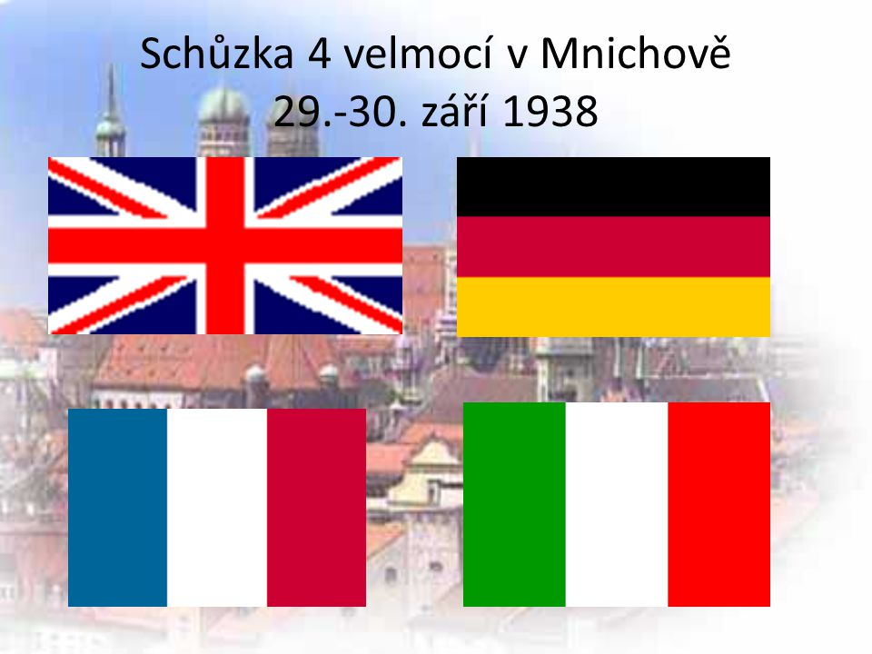 Schůzka 4 velmocí v Mnichově 29.-30. září 1938