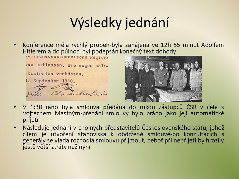 Výsledky jednání Konference měla rychlý průběh-byla zahájena ve 12h 55 minut Adolfem Hitlerem a do půlnoci byl podepsán konečný text dohody.