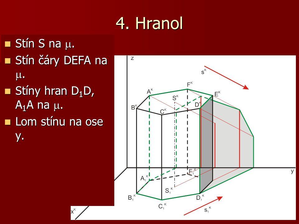 4. Hranol Stín S na . Stín čáry DEFA na . Stíny hran D1D, A1A na .