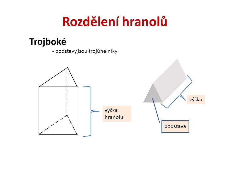Rozdělení hranolů Trojboké - podstavy jsou trojúhelníky výška