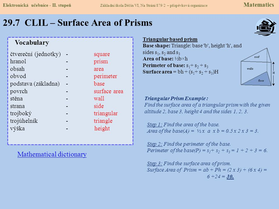29.7 CLIL – Surface Area of Prisms