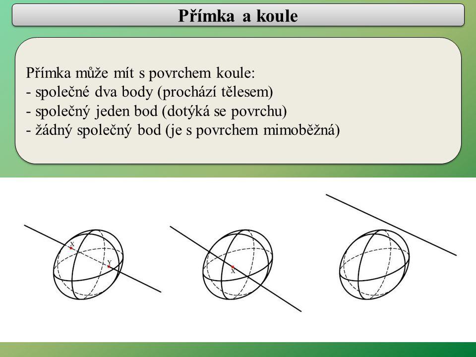 Přímka a koule Přímka může mít s povrchem koule: