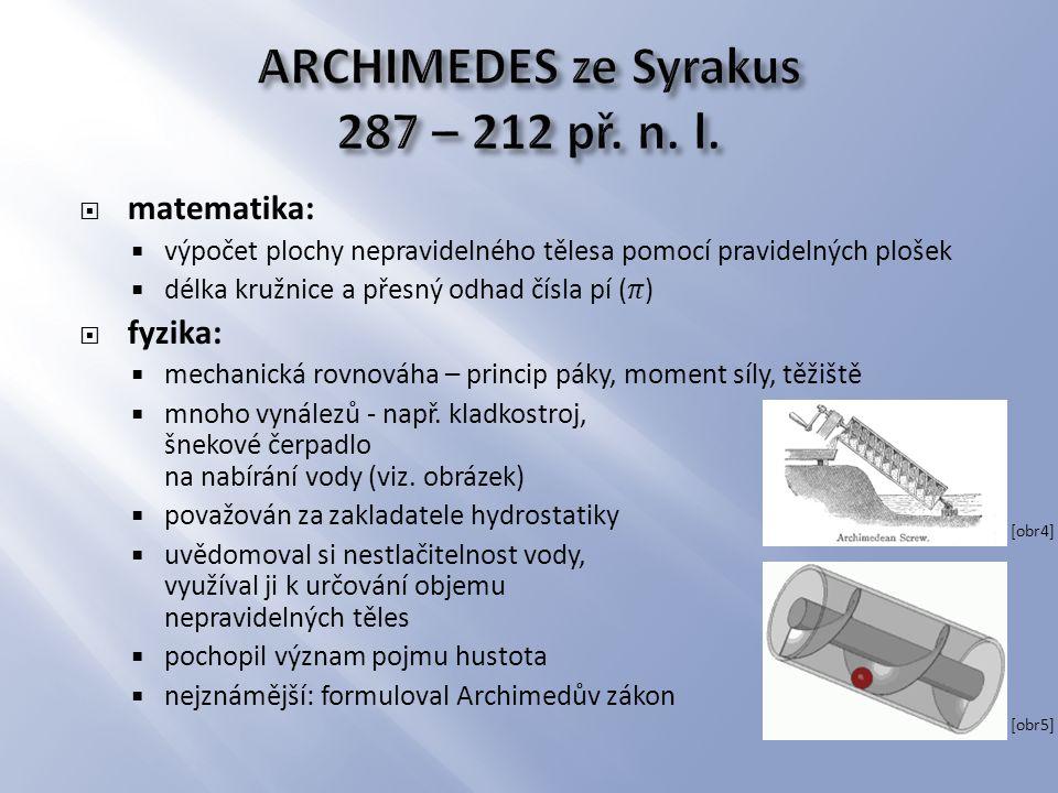 ARCHIMEDES ze Syrakus 287 – 212 př. n. l.