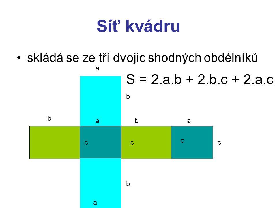Síť kvádru skládá se ze tří dvojic shodných obdélníků. a. S = 2.a.b + 2.b.c + 2.a.c. b. b. a. b.