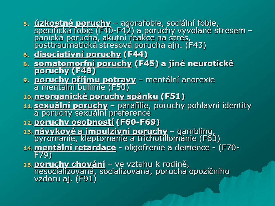 úzkostné poruchy – agorafobie, sociální fobie, specifická fobie (F40-F42) a poruchy vyvolané stresem – panická porucha, akutní reakce na stres, posttraumatická stresová porucha ajn. (F43)