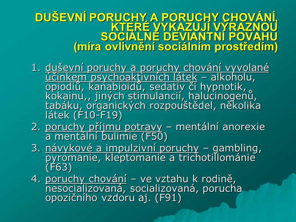 DUŠEVNÍ PORUCHY A PORUCHY CHOVÁNÍ, KTERÉ VYKAZUJÍ VÝRAZNOU SOCIÁLNĚ DEVIANTNÍ POVAHU (míra ovlivnění sociálním prostředím)