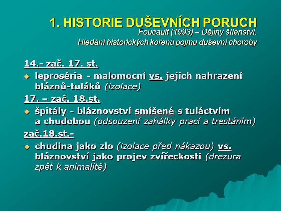 1. HISTORIE DUŠEVNÍCH PORUCH Foucault (1993) – Dějiny šílenství