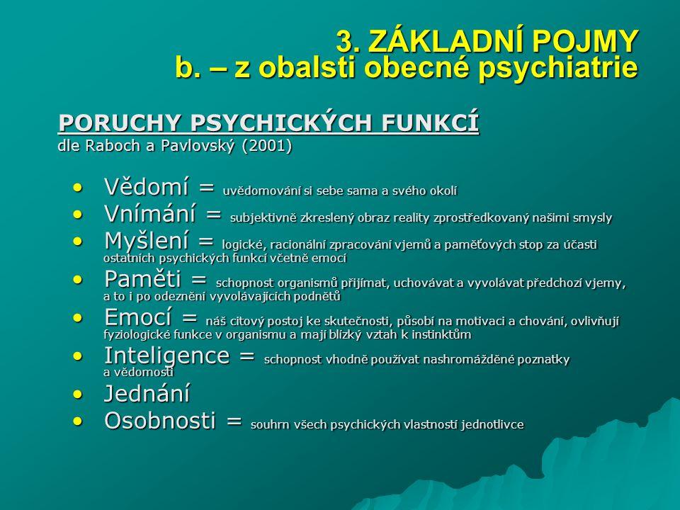 3. ZÁKLADNÍ POJMY b. – z obalsti obecné psychiatrie