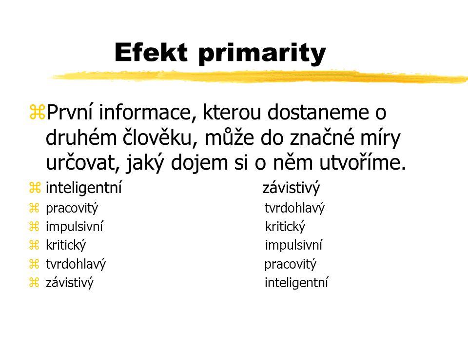 Efekt primarity První informace, kterou dostaneme o druhém člověku, může do značné míry určovat, jaký dojem si o něm utvoříme.
