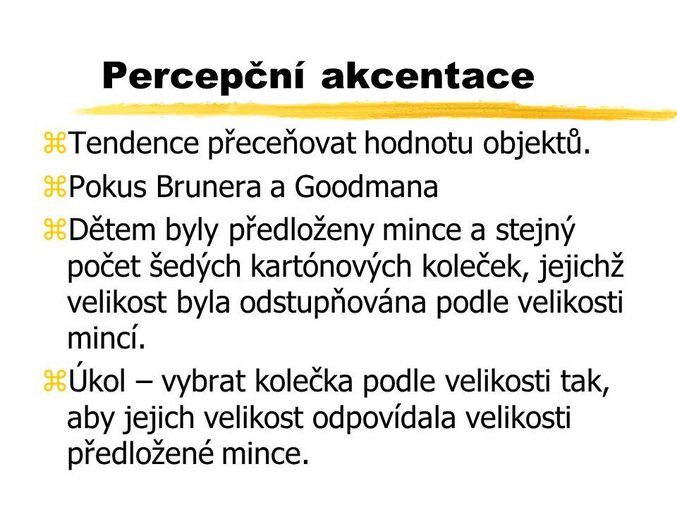 Percepční akcentace Tendence přeceňovat hodnotu objektů.