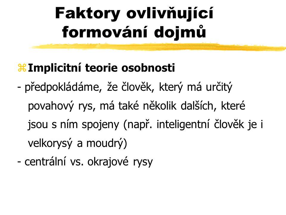 Faktory ovlivňující formování dojmů