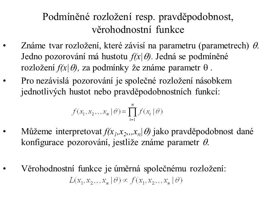Podmíněné rozložení resp. pravděpodobnost, věrohodnostní funkce